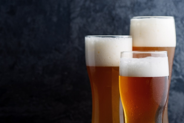 Three different beer glasses