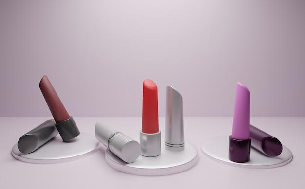 Three different lipsticks with podium in white room