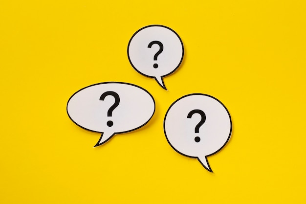 Three different shaped speech bubbles in the centre