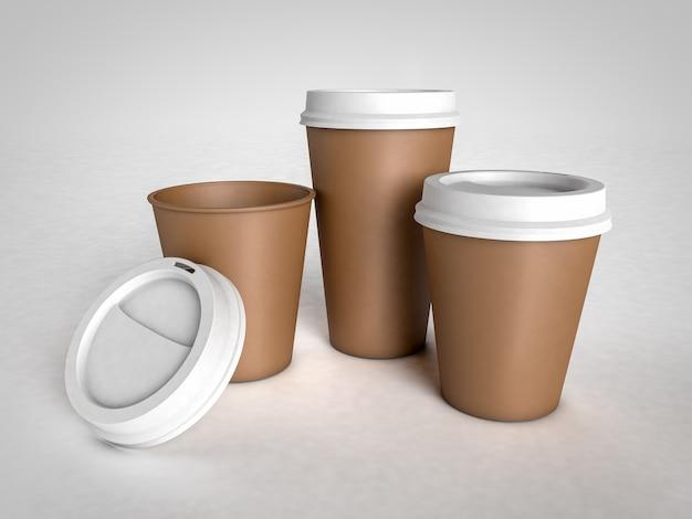 흰색 배경에 흰색 플라스틱 모자와 커피에 대 한 세 가지 다른 크기 종이 컵. 디자인 준비.