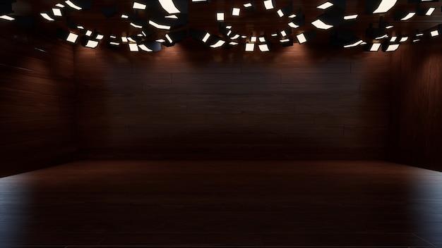 木製のテレビスタジオの3dレンダリングの3次元カラー背景
