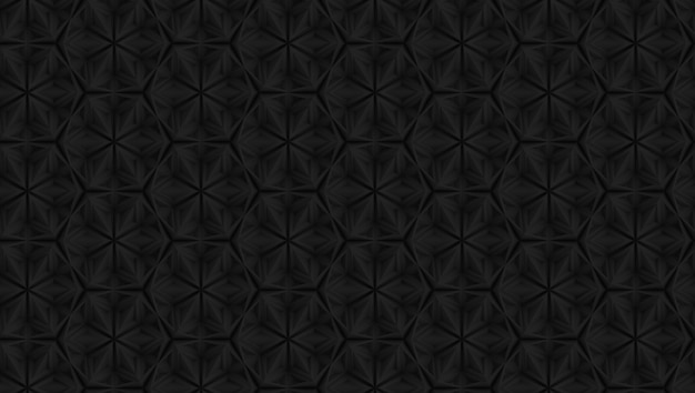 Three-dimensional dark geometry pattern with six-pointed flowers