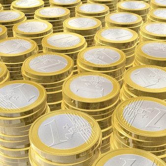 Three dimensional euro coins - illustration