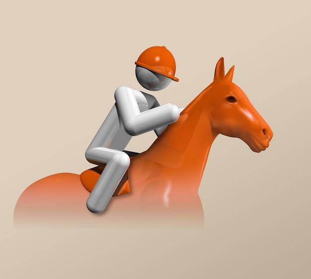 Three dimensional figure riding a horse