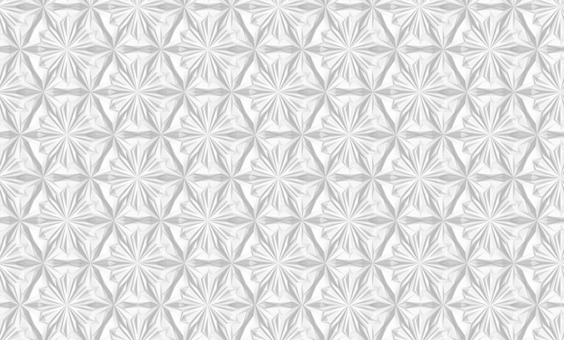 Three-dimensional geometrical white pattern with six-pointed flowers