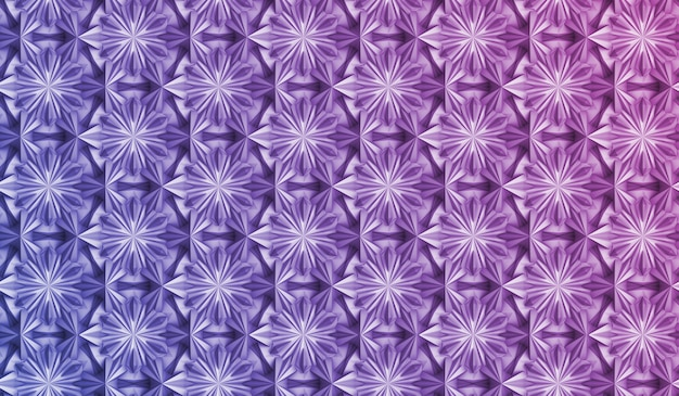 Three-dimensional geometry pattern with six-pointed flowers