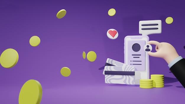 Трехмерная иллюстрация мобильного банковского приложения