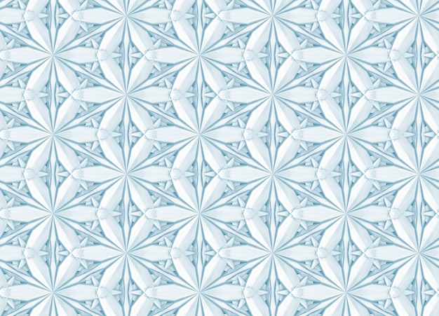 Three-dimensional light geometry pattern with six-pointed flowers