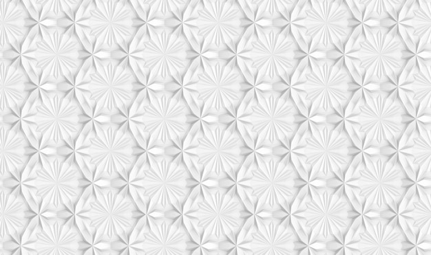 Three-dimensional light geometry seamless pattern with six-pointed flowers