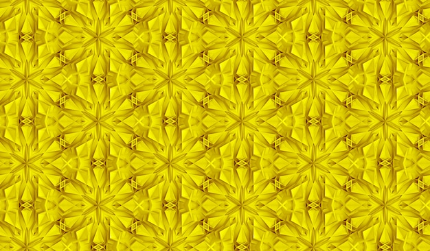 Three dimensional light geometry seamless pattern with six pointed flowers