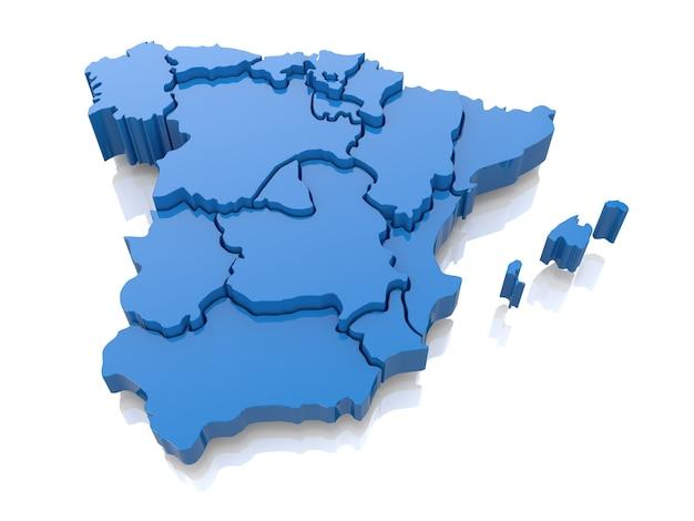 スペインの立体地図。 3d
