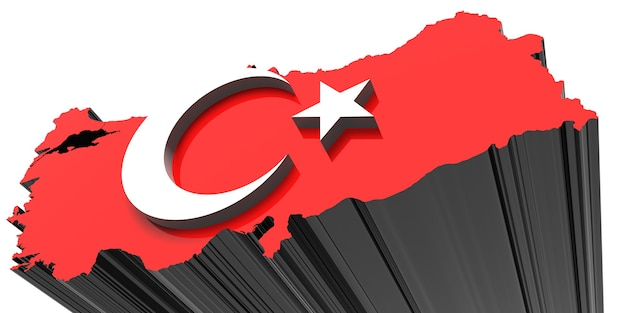 Three dimensional map of turkey in turkish flag colors