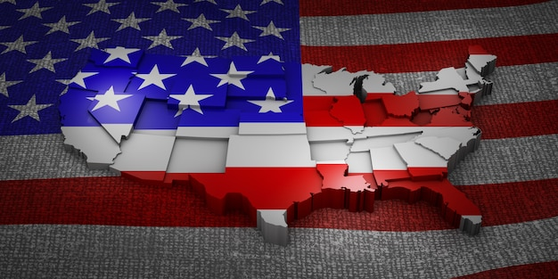 The three-dimensional map of the united states on the flag. 3d rendering.