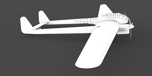 Three-dimensional model of the bomber aircraft of the second world war. body with two tails and wide wings. turboprop engine. drawn airplane on a gray background. 3d illustration.