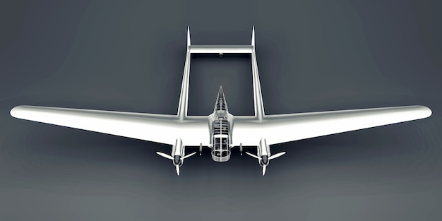 Three-dimensional model of the bomber aircraft of the second world war. shiny aluminum body with two tails and wide wings. shiny airplane on a gray surface.