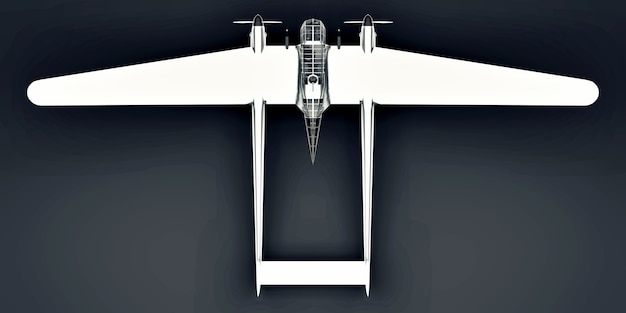 Three-dimensional model of the bomber aircraft of the second world war. shiny aluminum body with two tails and wide wings. turboprop engine. shiny airplane on a gray background. 3d illustration.