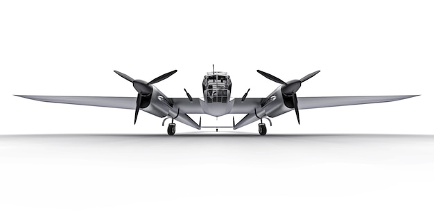 Three-dimensional model of the bomber aircraft of the second world war. shiny aluminum body with two tails and wide wings. turboprop engine. shiny gray airplane on a white background. 3d illustration.