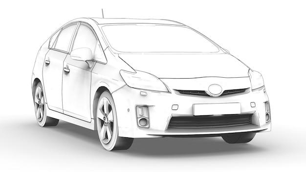 하이브리드 가족 자동차의 3차원 모델은 흰색 배경에 연필로 그림을 그렸습니다. 3d 렌더링.