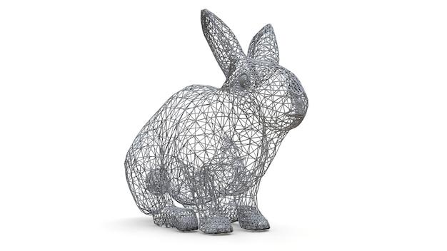 Трехмерная модель кролика в виде пространственного каркаса. каркас сделан из треугольников. современное искусство, смесь дикой природы и компьютерной графики. 3d иллюстрации.