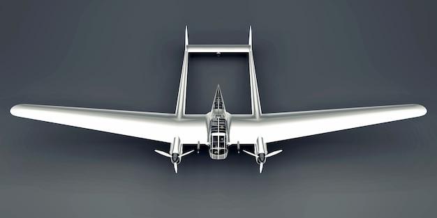 Трехмерная модель бомбардировщика второй мировой войны. блестящий алюминиевый корпус с двумя хвостами и широкими крыльями. блестящий самолет на серой поверхности.
