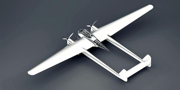 제 2 차 세계 대전 폭격기의 입체 모델. 두 개의 꼬리와 넓은 날개가있는 반짝이는 알루미늄 바디. 터보프롭 엔진. 회색 바탕에 빛나는 비행기. 3d 그림.