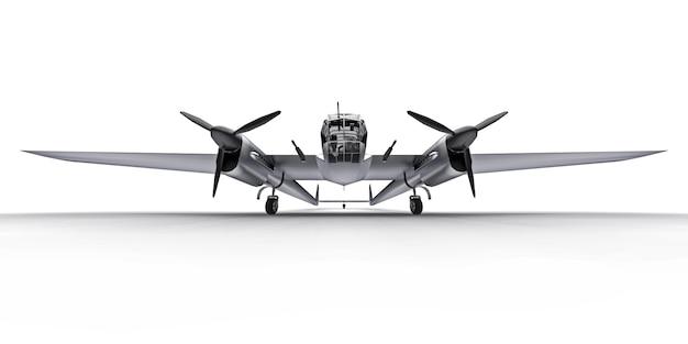 Трехмерная модель бомбардировщика второй мировой войны. блестящий алюминиевый корпус с двумя хвостами и широкими крыльями. турбовинтовой двигатель. блестящий серый самолет на белом фоне. 3d иллюстрации