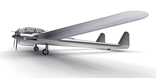 제 2 차 세계 대전 폭격기의 입체 모델. 두 개의 꼬리와 넓은 날개가있는 반짝이는 알루미늄 바디. 터보프롭 엔진. 흰색 바탕에 빛나는 회색 비행기. 3d 그림.