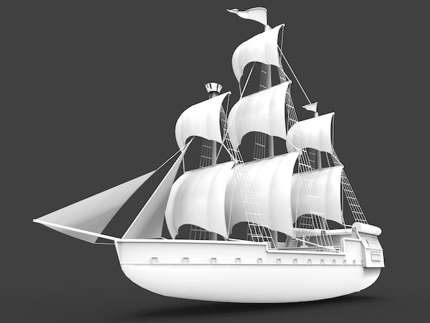 Three dimensional raster  of an ancient sailing ship on gray  with soft shadows