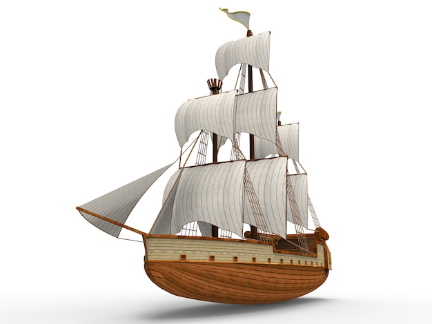 Three dimensional raster  of an ancient sailing ship on white  with soft shadows