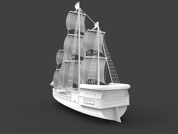 Three-dimensional raster illustration of an ancient sailing ship on a gray background with soft shadows. 3d rendering.