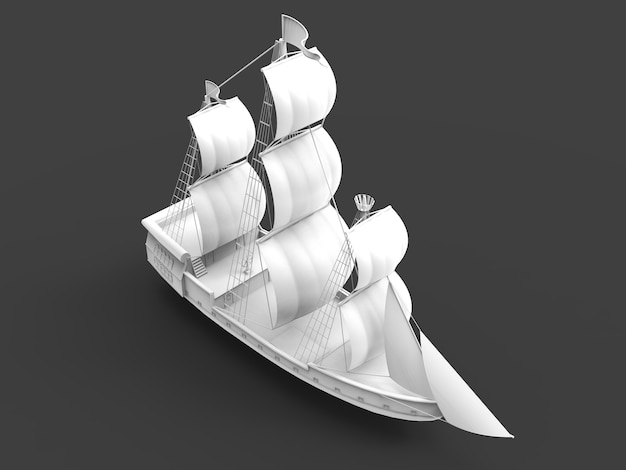 Three-dimensional raster illustration of an ancient sailing ship on a gray space with soft shadows. 3d rendering.