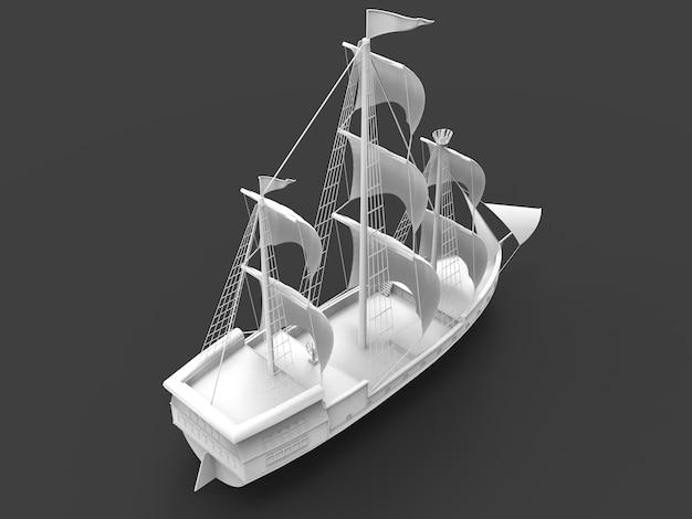 Трехмерная растровая иллюстрация древнего парусного корабля на сером фоне с мягкими тенями. 3d рендеринг.