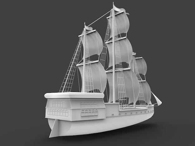 ソフトシャドウのある灰色の空間にある古代の帆船の3次元ラスター図。 3dレンダリング。