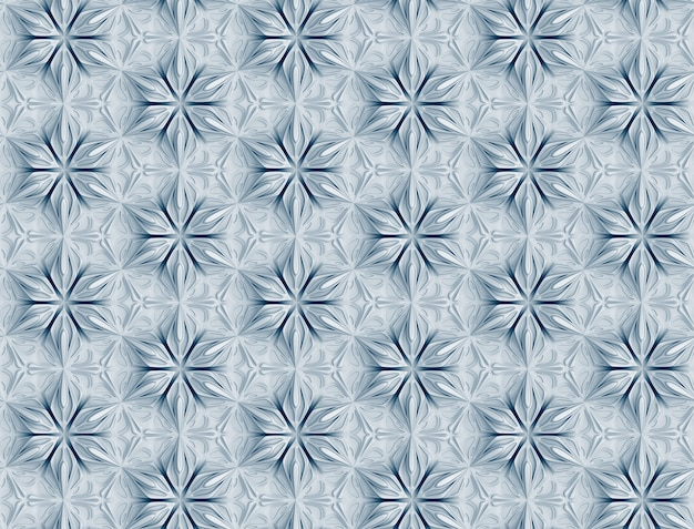 Three-dimensional white pattern with six-pointed flowers
