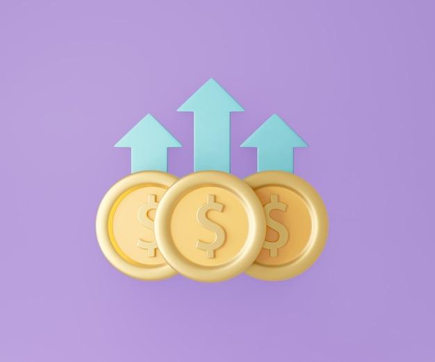 보라색 바탕에 위쪽 화살표가 있는 3달러 동전. 3d 그림 렌더링.