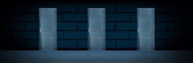 選択または運の概念としての壁の3つのドア