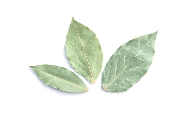 白い上面図で分離された3つの乾燥した月桂樹の葉または月桂樹