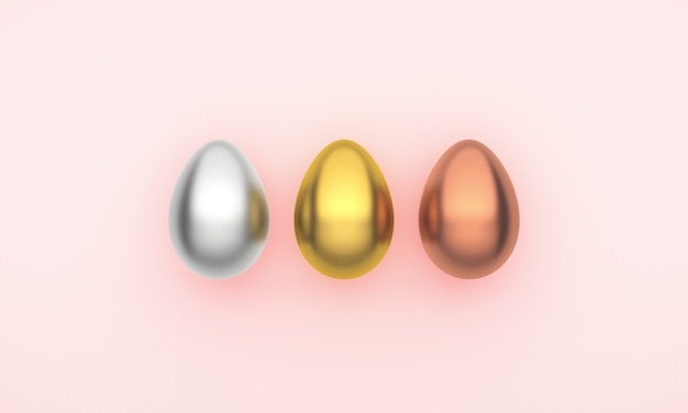 Three easter eggs on a pink