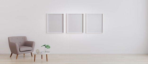 Three empty frames with armchair with white modern coffee table with decoration in bright room for mockup. living room with 3 empty frames for mockup. 3d rendering