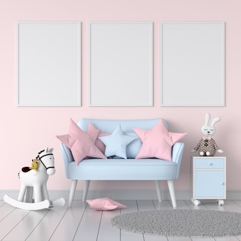 Three empty photo frame in child room