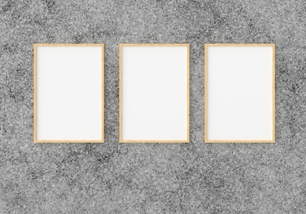 Three empty photo frame for  in empty wall, 3d render, 3d