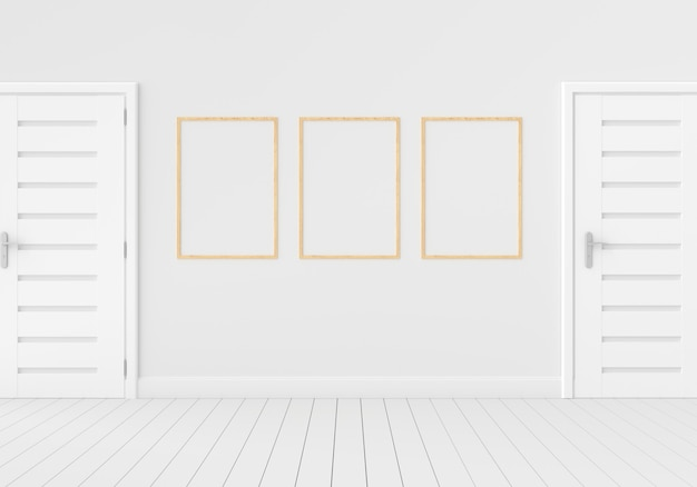 Three empty photo frame for  in empty white room, 3d render, 3d