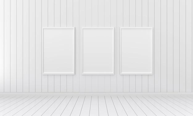 空の白い部屋、3 dのレンダリング、3 d図のモックアップのための3つの空のフォトフレーム