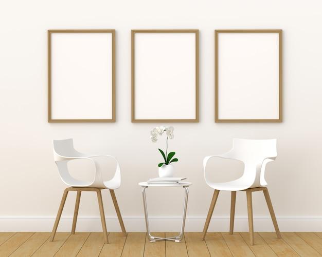 モダンなリビングルーム、3 dレンダリング、3 dイラストレーションのモックアップのための3つの空のフォトフレーム