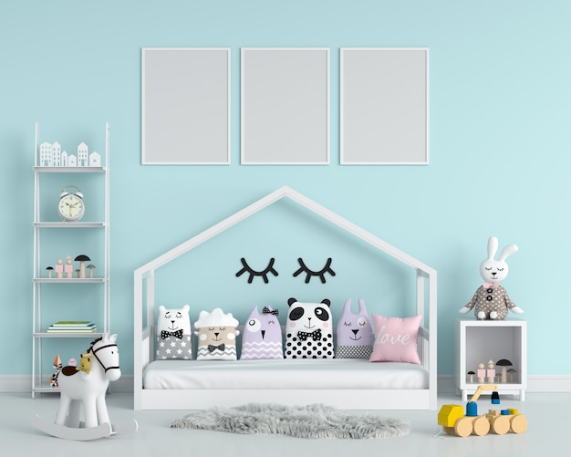 Three empty photo frame for mockup in child bedroom