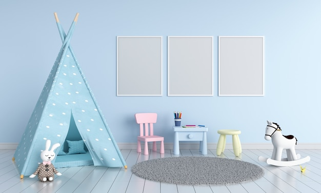 Three empty photo frame for mockup in childern room