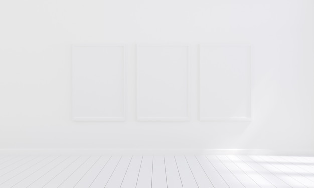 Three empty photo frame for mockup in empty white room, 3d render, 3d illustration