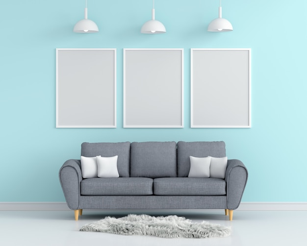 Three empty photo frame for mockup in living room