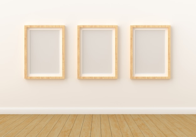 Three empty photo frame for mockup in modern living room
