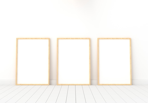 Three empty photo frame for mockup in white room